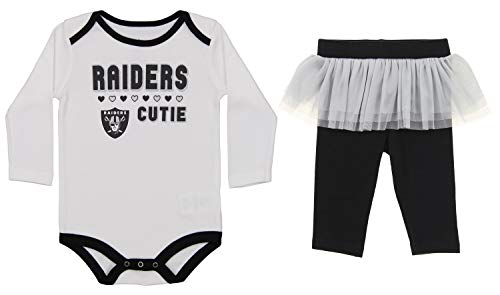 - Outerstuff NFL Newborn and Infant Girls Team Color Creeper Pant Set, Oakland Raiders 3-6 Months