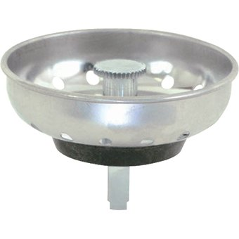 EZ-FLO 30053 Kitchen Sink Replacement Basket with Stainless Steel Strainer and Rubber Stopper, 3-1/2-inch