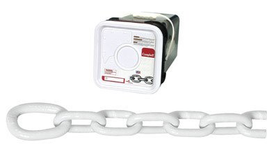 Campbell-0200356-System-3-Grade-30-Low-Carbon-Steel-Proof-Coil-Anchor-Lead-Chain-in-Square-Pail-Galvanized-with-Polycoated-516-Trade-031-Diameter-White-75-Length-1900-lbs-Load-Capacity