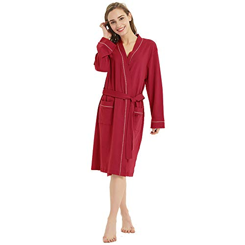 Womens Long Sleeve Cotton Robe with Pocket Spa Soft Travel Bathrobe (Wine Red XL)