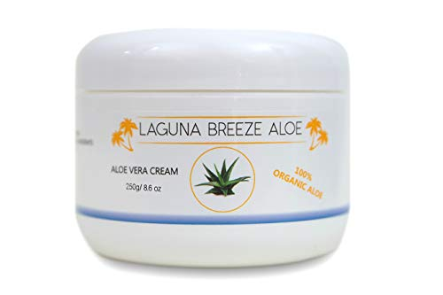 Aloe Vera Cream by Laguna Breeze - Face and Body Lotion - Psoriasis Eczema Dry Skin Cracked Hands and Feet - All In One Anti Aging Moisturizer and Not Greasy - Soothing Itchy Skin – 8.6oz - 250g