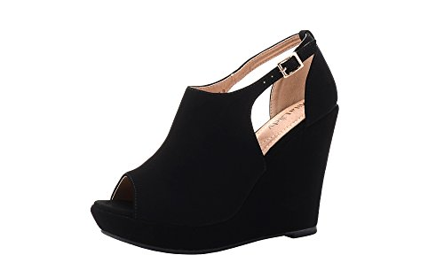 en's Platform Wedges Cutout Side Straps, Peep-Toe Ankle Bootie, Heeled Sandal. Black 7 ()