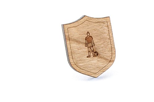 Soccer Player Lapel Pin, Wooden Pin and Tie Tack | Rustic and Minimalistic Groomsmen Gifts and Wedding Accessories