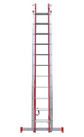 7.20 m Alt Max Escalera Triple Transformable de Fibra de Vidrio y Aluminio 3 Tramos Extensibles Escada 3 lances transform/ável em alum/ínio e fibra de vidro 3x9