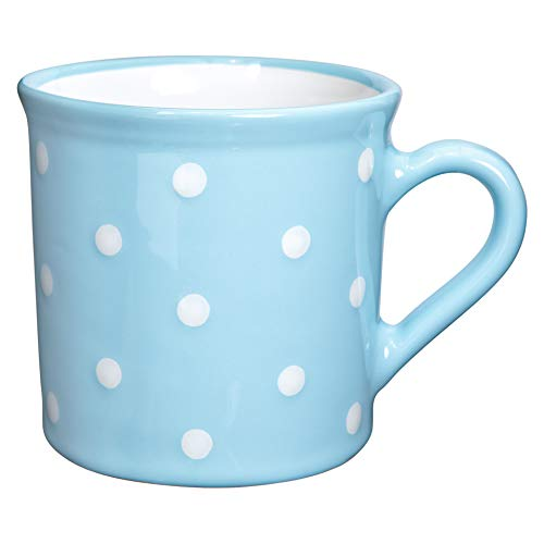 lue and White Polka Dot Ceramic Extra Large 17.5oz/500ml | Hot Chocolate, Coffee, Tea Mug, Cup with Handle Unique Designer Pottery Gift for Tea Lovers by City to Cottage ()