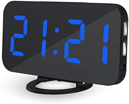 LED Digital Alarm Clock with Dual USB Port for Phone, Snooze, Brightness Dimmer, Big Digit Display Blue