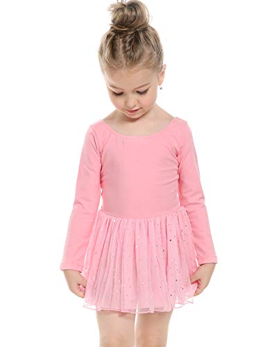 (Arshiner Girls' Classic Long Sleeve Sequins Tutu Dress Leotard (130(Age for 4-5Y), Pink))