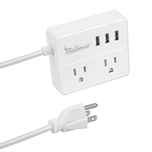 Portable 2 Outlet Power Strip Heavy Duty Extension Cord Travel Charger Station with 3 Smart USB Charging Ports for Home, Office, Laptop, Smartphone and Tablets (4FT, White)