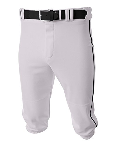 Baseball/Softball Knee High Pants White/Black Side Piping Youth XS Old School Knickers A4 Youth Baseball Pant