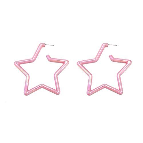 (GUNIANG Large Colorful Star Pink Hoop Earrings for Women Girls, Boho Geometric Earring Hoops for Sensitive Ears Fun 80s)