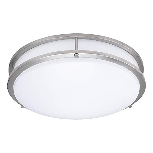 14-Inch Double Ring Dimmable LED Flush Mount Ceiling Light, 22W (100W Equivalent), 1800lm, 4000K Natural White, Brushed Nickel Finish with Plastic Shade, ETL Listed, Commercial or Residential