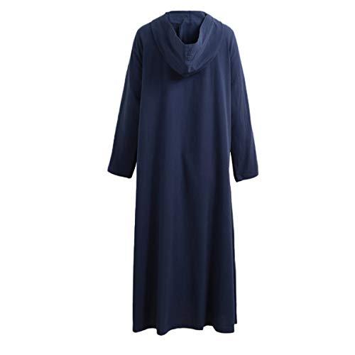 Vestito Tinta Manica Unita Blu Maxi Partito Moda Cappuccio Fashion Casual Sciolto Festa Abito con Lunga Donne Primavera Vestiti Scuro da Simple Autunno BZ0nYf