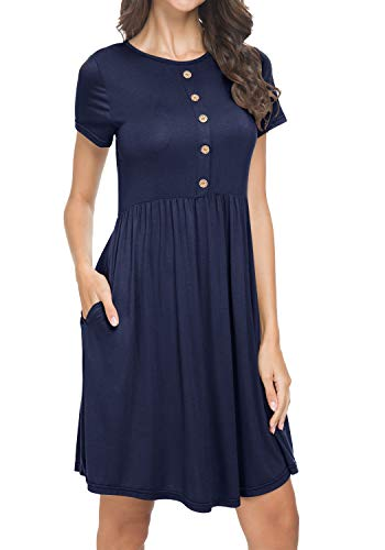 Women's Summer Pleated Casual Loose Swing Knit T-Shirt Sundress Deepblue L