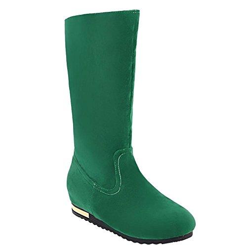 Charm Foot Womens Fashion Mid Heel Hidden Heel Mid Calf Boots Green OLHh5