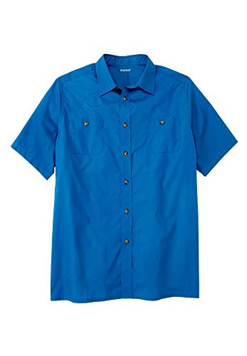 KingSize Men's Big & Tall Short Sleeve Solid Sport Shirt, Royal Blue Big-XL