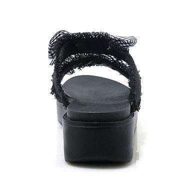 LvYuan Mujer Sandalias Confort Suelas con luz Tela Verano Casual Vestido Confort Suelas con luz Pajarita Tacón Cuña Plataforma Blanco Negro2'5 - Black