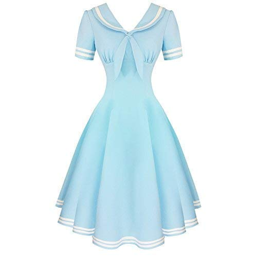 Vintage Cruise Outfits, Vacation Clothing Hell Bunny Ambleside Blue Nautical 1950s Vintage Retro Sailor Pinup Swing Dress £26.99 AT vintagedancer.com