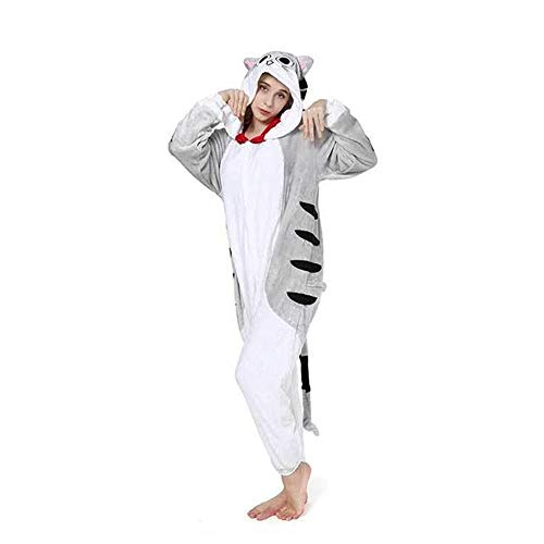 Christmas Adult Cheese Cat Pajamas Sleepwear Animal Cosplay Costume(Gray-XL) -