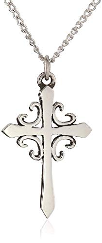 French Sterling Silver Cross (Bob Siemon Sterling Silver French Cross Necklace on 18