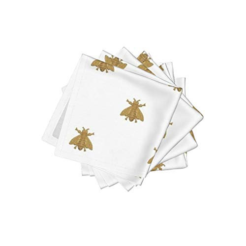 (Roostery Antique Linen Cotton Cloth Cocktail Napkins Antique Bees Gold Antique Gold Bees Napoleon French White Gilt by Peacoquettedesigns Set of 4: 10 x 10in )