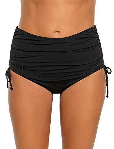 Ruched Bikini Bottom - luvamia Women's Solid Ruched High Waisted Bikini Tankini Swimsuit Bottoms Side Tie Swim Brief Black Size X-Large (Fits US 16-18)