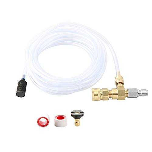 Sooprisne Chemical Injector Kit for High Pressure Washer, 4000 PSI Adjustable Soap Dispenser with a 1/4 Inch Black Soap Nozzle and Teflon Tape,16 Ft Siphon Hose, 3/8 Inch Quick Connect
