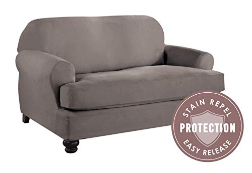 (Tailor Fit Microsuede T-Loveseat Furniture Slipcover with Detachable Cushion, Stain Repellant & Stretch Fit Material)