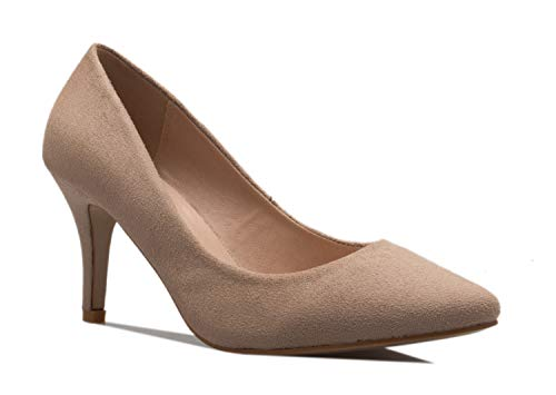 OLIVIA K Women's Classic D'Orsay Closed Toe Mid Stiletto Heel Pump   Dress, Work, Party Low Heeled Pumps   high Casual Comfortable Sale