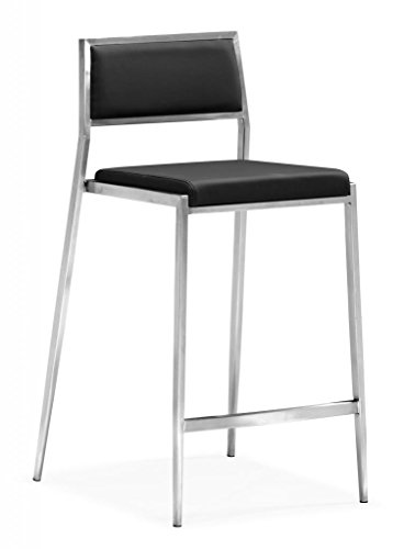 Modern Contemporary Bar Counter Chair, Black Leatherette Brushed Stainless Steel (set of two) ()