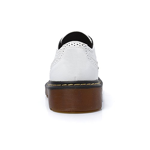 Chaussures Bout Frange Richelieu Lacets Autobloquants Smilun Femme Brogues Blanc Rond gqwAaxWd0c