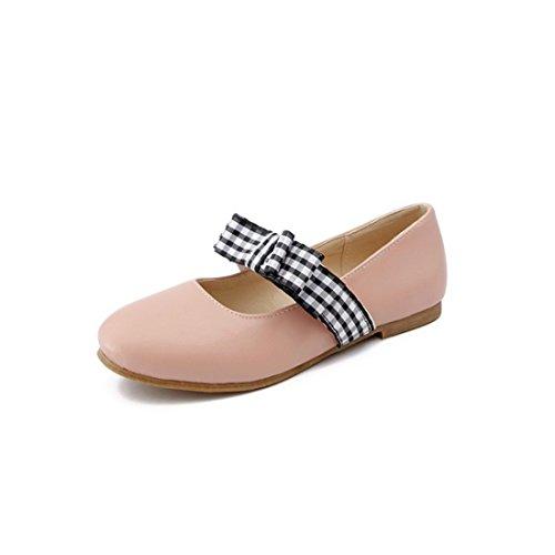 Pink Zapatos Presidente Durante Primavera Estudiantes Otoño y el luz up la Zapatos de Dulce Round Pajarita Tacón rOqWnRra