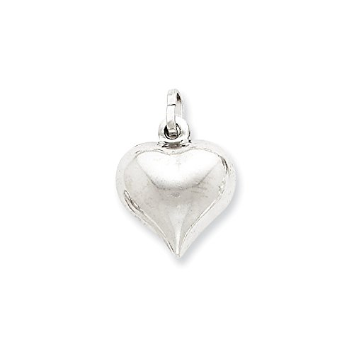 Mireval Sterling Silver Puffed Heart Charm (19 x 15mm) by Mireval