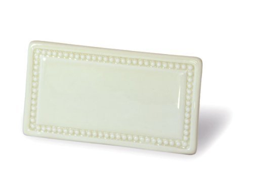 PlaceTile Designs Set of 6 Beaded Dry-erase Ceramic Place Card with Vase (Pearl Beaded Plate)