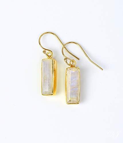 Rainbow Moonstone earrings, June Birthstone Earrings, Gemstone Bar Dangle Earrings