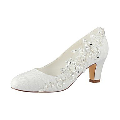 Pump Wedding Evening Toe Women's Chunky for Wedding Party Round Shoes Spring ivory Ivory Fall Pearl Heel Shoes Stretch Satin Best Lace 4U Basic 4zZvqv