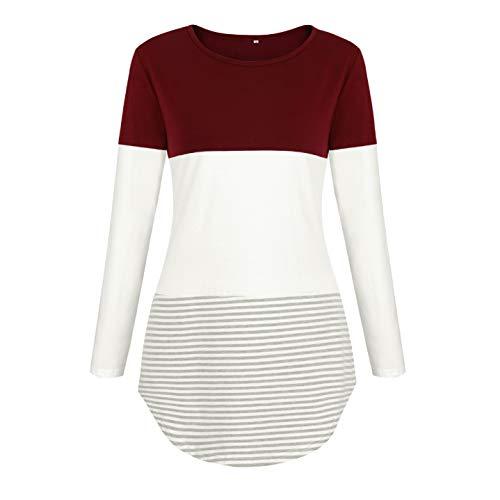 Maglia Casual Autunno Maglietta T Camicia Rosso Godgets Primavera Maniche Lunghe Donna Vino Shirt U145wUxqY