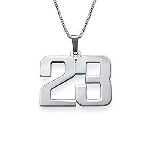 (EVER2000 Custom Lucky Number Necklace, Sterling Silver Personalized Pendant with Any Number Jewelry Gift for Women)