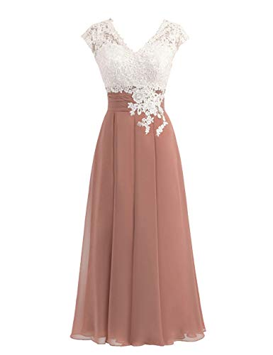 Women's Ivory Lace Top Chiffon Button V-Neck Bridesmaid Dresses with Cap Sleeves Mother of The Bride Dresses (US2, Brown) ()