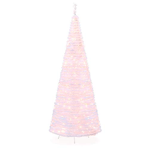Best Choice Products 7.5ft Pre-Lit Pop-Up Artificial Christmas Tree Holiday Decoration w/ 450 White Lights, Stand (White Lit Pre Christmas Tree)