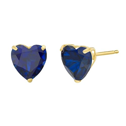 (Lavari - 1.9 cttw Heart 6MM Simulated Blue Sapphire 10K Yellow Gold Stud Earrings)