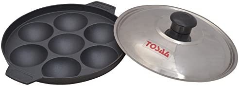 Tosaa Non-stick 7 cavity appam patra with lid 17 cm (200 grms)