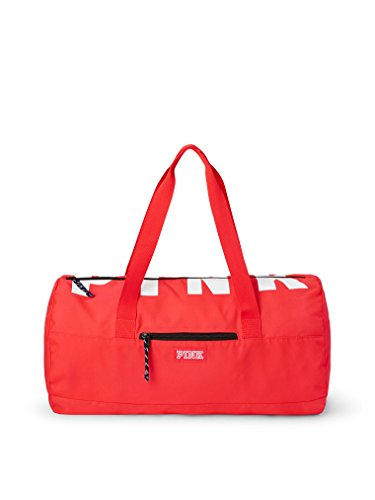 (Victoria's Secret Pink Friday Logo Duffel Tote Neon Red Candy Coral)