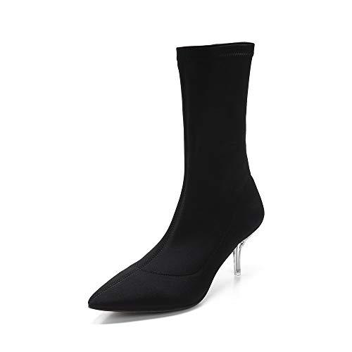 MACKIN J 224-7 Women's Lucite Kitten Heel Mid-Calf Bootie (9, Black) ()