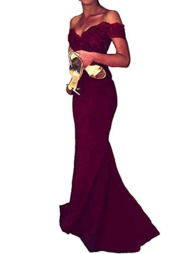 Mermaid Prom Dresses for Women Sleeveless Off The Shoulder Elegant Wine Red Evening Party Dress with Lace Court Train