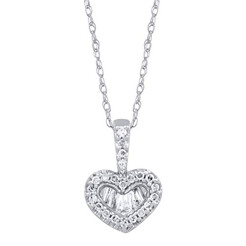 (1/4 Carat Natural Diamond Necklace 10K White Gold Baguette and Round-Shape (I1-I2 Clarity) Diamond Heart Necklace for Women Diamond Jewelry Gifts for Women)