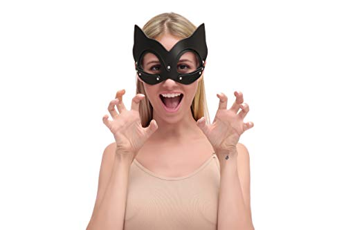 Rabbit Hole Handmade Leather Mask with Rhinestone Animal Shape Hood Cosplay Halloween Masquerade mask (Black Bat Mask) -