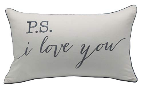 "Pillowcases P.S.I Love You Quote Pillow Cover, Throw Pillow, Gift Pillow, Gift for him, Gift for her,Wedding Gift, Bridal Shower Gift, Hand Stamped Lumbar Pillow (12""X20"", Ivory(P.S I Love))"