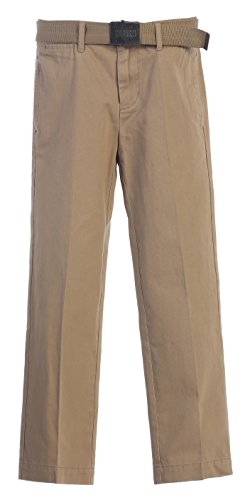 [Gioberti Boys Belted Flat Front Twill Pants, Khaki, 7] (Belted Canvas Belt)