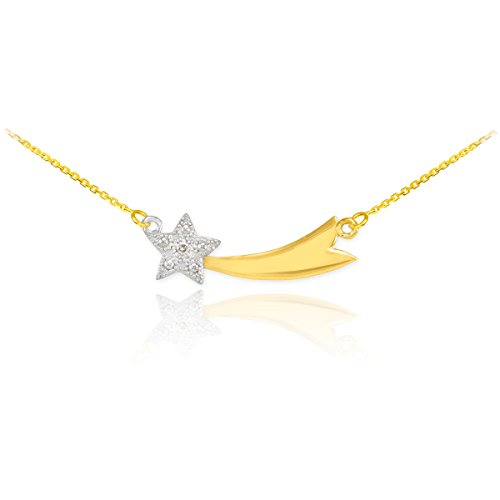 14k Two-Tone Gold Diamond-Accented Shooting Star Pendant Necklace, - Gold Adorned 14k Diamond Round