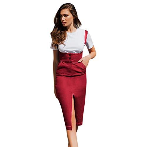 - Keliay Bargain Women's Casual Spaghetti Strap Dress Split Button Pocket Mid-Length Dress